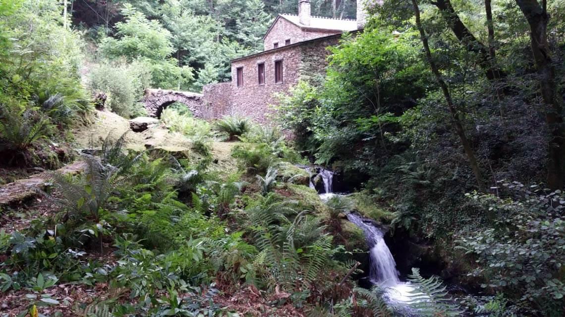 Río y molinos de agua en los Muiños do Mainzoso, Paderne